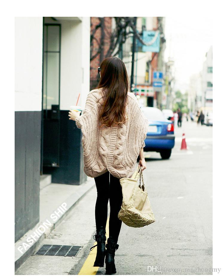 2018 Winter New Cardigan Poncho Bat sleeves Outerwear Women Long Sleeve Sweater Knitted Cardigan Brand Casual Knitwear Jacket