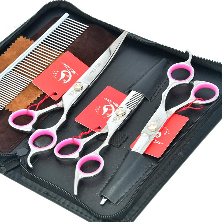 7.0Inch Meisha Professional Pet Grooming Scissors Set Cutting + Thinning + Curved Clippers Kits Stainless Steel Cat Puppy Hair Shears HB0069