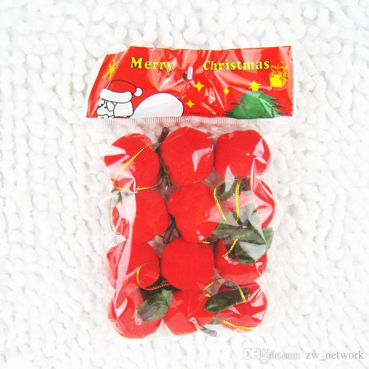 2017 تشيريستماس شجرة التفاح الديكور 12 قطعة / الوحدة الاصطناعي صغيرة حمراء التفاح الديكور هدية لعيد الميلاد شجرة حلية حار بيع