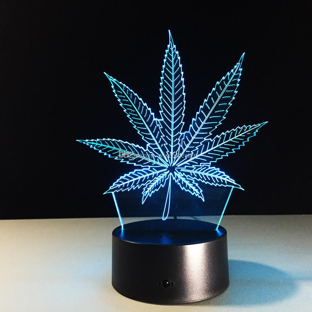 Leaf 3D Illusion LED Night Light 7 RGB Colorful USB alimentato 5 ° Battery Bin Touch Button Dropshipping Gift Box