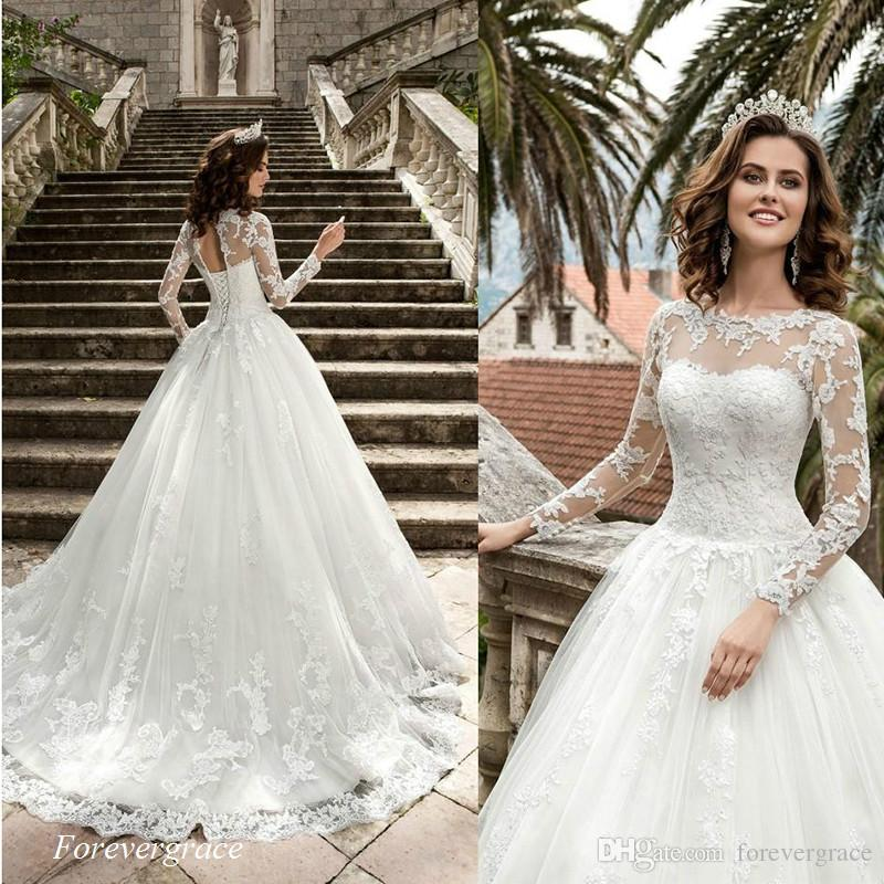 Discount Vintage Cheap A Line Lace New Queen Wedding Dress High ...