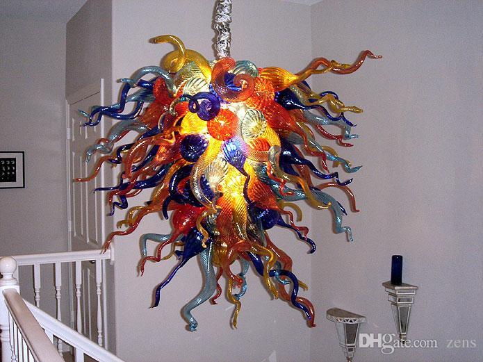 100% della catena di vetro soffiato a bocca lampadario di cristallo moderno artistico Lampade a sospensione Villa decorazioni AC 110V 240V Soggiorno Illuminazione