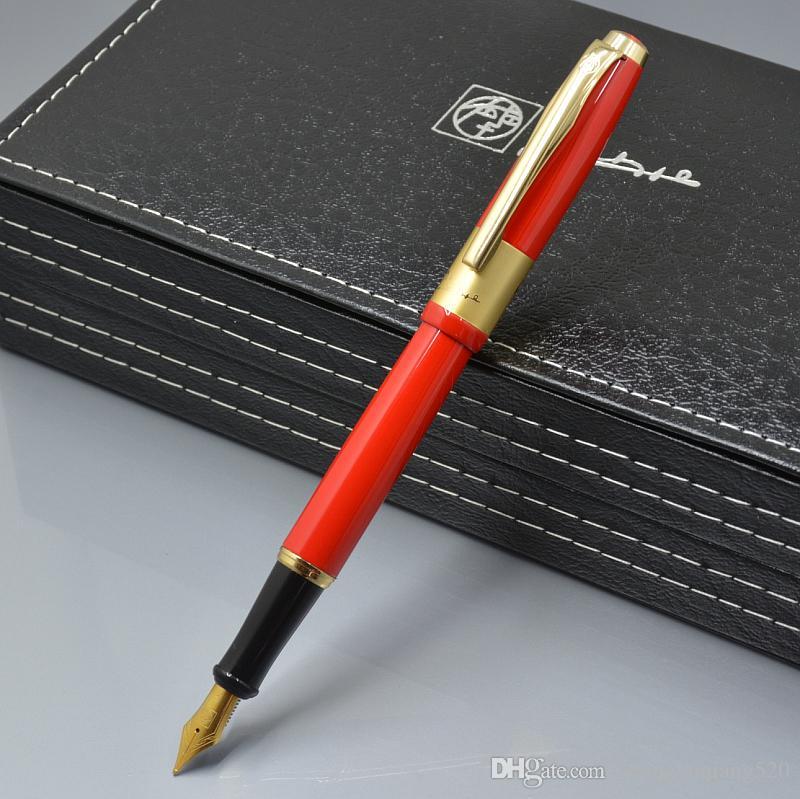 Yüksek Kalite Picasso marka F ucu Kırmızı metal dolmakalem okul ofis kırtasiye lüks bayan doğum günü hediyesi mürekkep kalem yazma