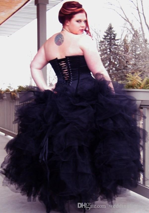 Stunning Gothic Corset Ball Gown Black Wedding Dress Strapless Ruffled Tiered Skirt Ankle Length Celtic Wedding Dress Bridal Gown Plus Size