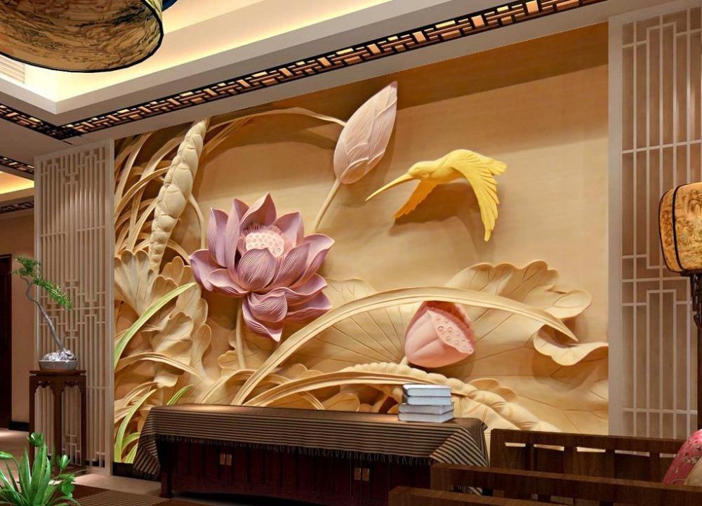 Großhandel-Holzschnitzerei Lotus Wandbild TV Kulisse 3D Tapete Blume 3D  Tapete Wohnzimmer Home Decoration