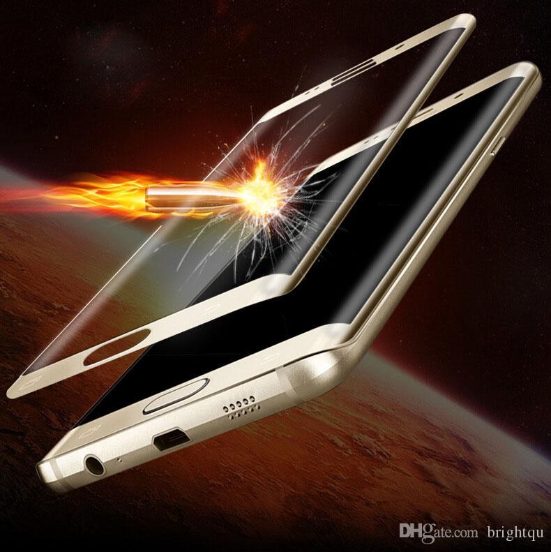 Full omslag 3D-krökt skärm 9H-tempererat glas LCD-skärmskydd Skyddsfilm för Samsung Galaxy S6 S7 Edge Edge + Plus G9250 Inget paket