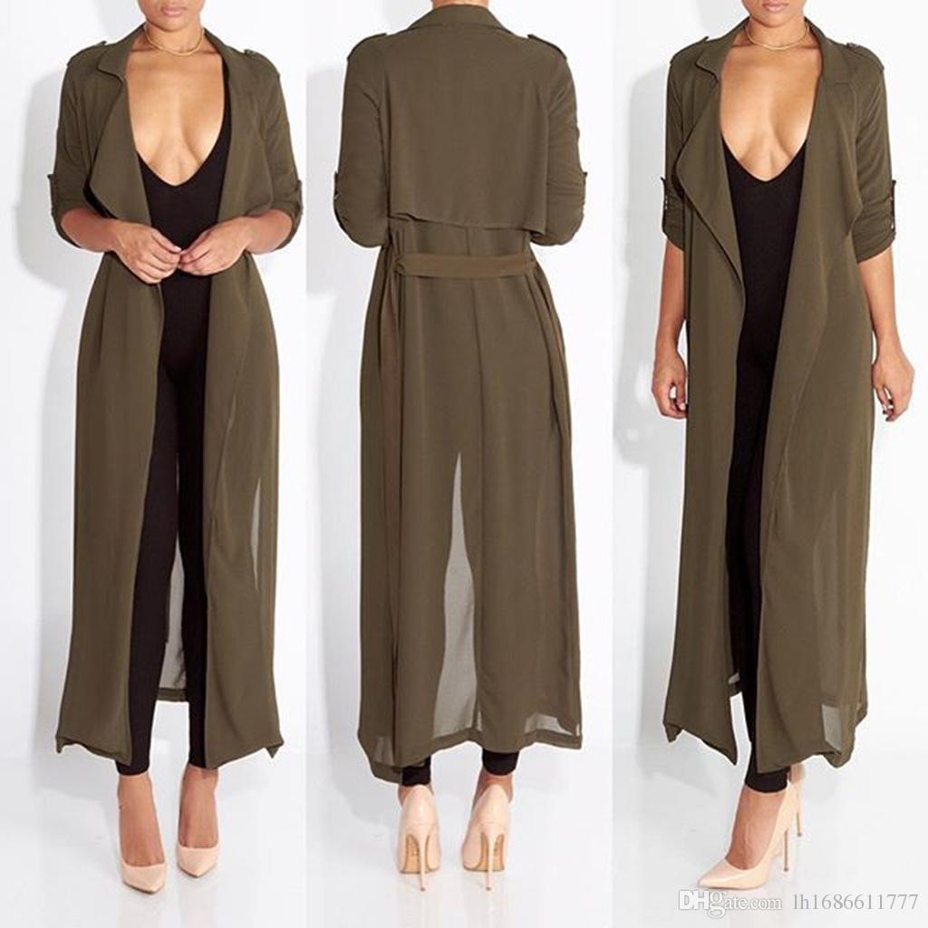 Estate moda donna manica lunga sui risvolti in chiffon lungo cardigan camicia da donna sexy vestiti da spiaggia abiti Camicetta delle donne cappotto