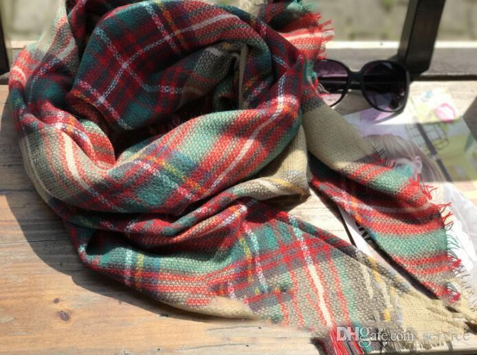 10 قطع النساء منقوشة الأوشحة الشبكة الشرابة التفاف المتضخم تحقق شال ترتان الكشمير وشاح الشتاء منديل شعرية البطانيات