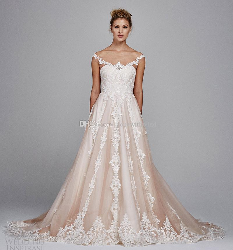 Blush wedding dresses 2017 illusion off shoulder sweetheart blush wedding dresses 2017 illusion off shoulder sweetheart neckline lace appliques chapel train ball gown wedding gowns bridal bridal gowns from junglespirit Gallery