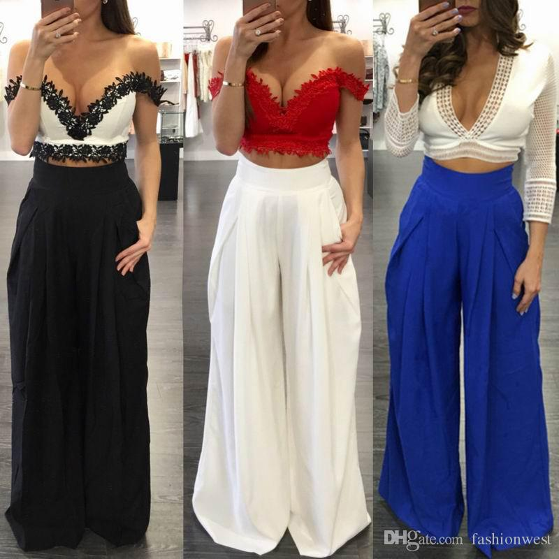 6692b7eb1ae0 2019 Women Pants Summer Fashion Solid Wide Leg High Waist Loose Fold Casual  Long Chiffon Pantsskirt Multicolors Ladies Trousers Culottes Bottoms From  ...