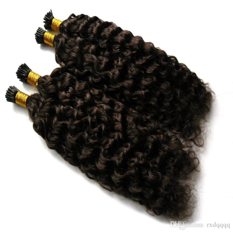 Brésilien vierge bâton pointe des extensions de cheveux humains crépus bouclés Naturel Couleur 300g 1g / brin 300 kératine cheveux extensio vierge je pointe les cheveux