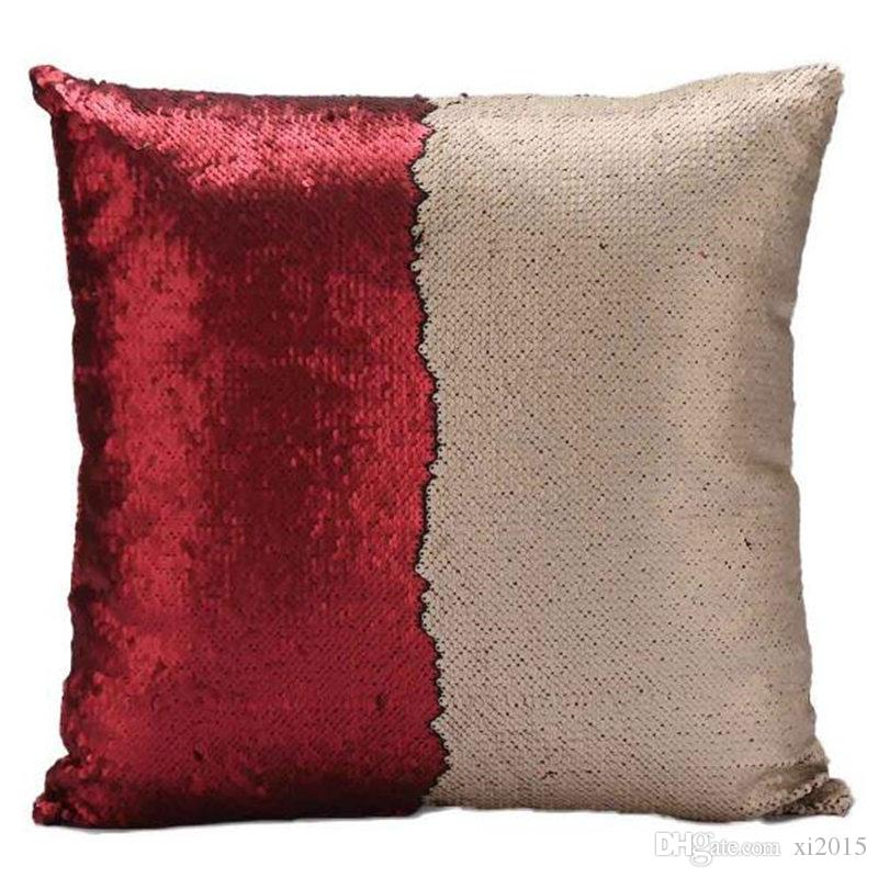 Fashion gift Magic Glamour Bright Pillow case Sequin Mermaid Pillow Covers Reversible Cushion Cover Home Sofa Car-styling Decor CASE