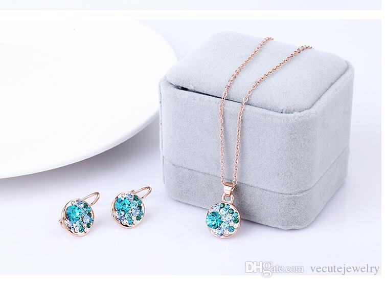 Fashion Cz crystal made with Swarovski Elements gold jewelry set for Women Round Sets conjuntos de joyeria Wedding jewelry sets bridal sets