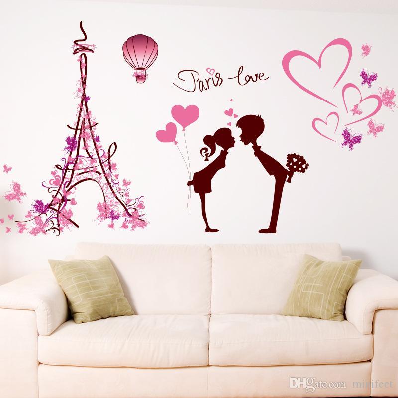 Adesivi Murali Torre Eiffel.Acquista Adesivi Murali Amanti Della Torre Eiffel Romantico Amore