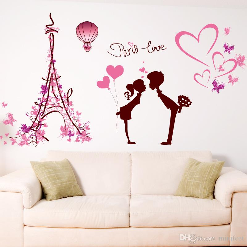 Eiffel Tower lovers wall stickers Romantic love marriage room bedroom background adornment can be removed stickers