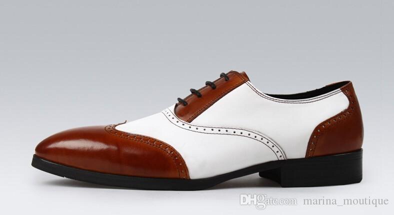 2017 رجل اليدوية أسود أبيض الأعمال اللباس أحذية أوكسفورد أحذية الرجال جلد طبيعي عارضة البريطاني خمر جودة عالية