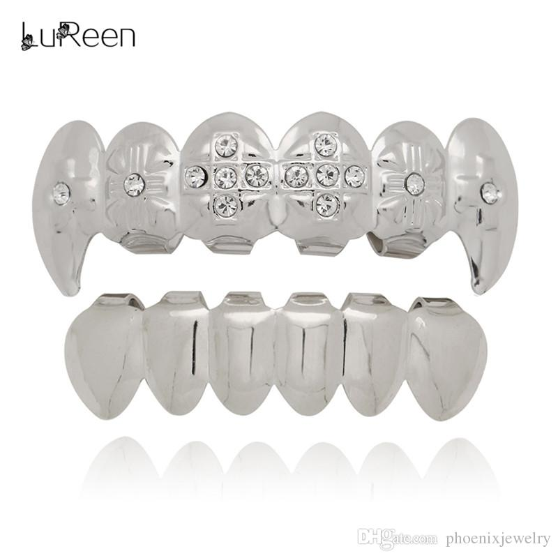 LuReen Gold Silver Plated Teeth Grillz Iced Out Cross Vampire 6 Teeth Top and Bottom Grillz Hip hop Rock Halloween Body Jewelry