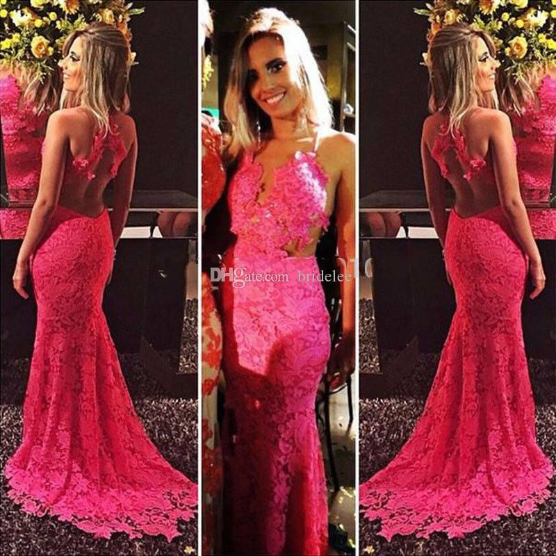 Sexy Bespoke Lace Mermaid Long Prom Dresses 2017 Deep V Neck Backless Court Train Teens Evening Party Gowns vestido de festa