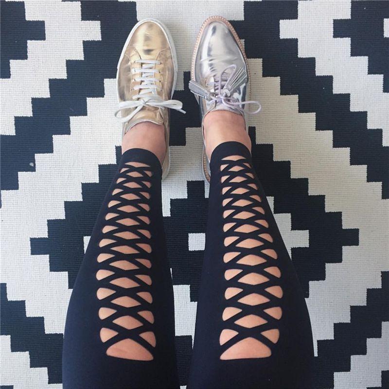 Europe United States fashion women's wear black bandage tight yoga leggings black with mesh sexy lady gym sports casual pencil pants