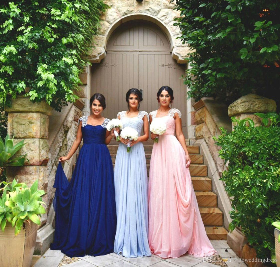 2017 Light Pink Elegant Long Bridesmaid Dresses Scoop Neckline With Lace Applique Sleeves Evening Dresses Back Zipper Custom Made Prom Gowns