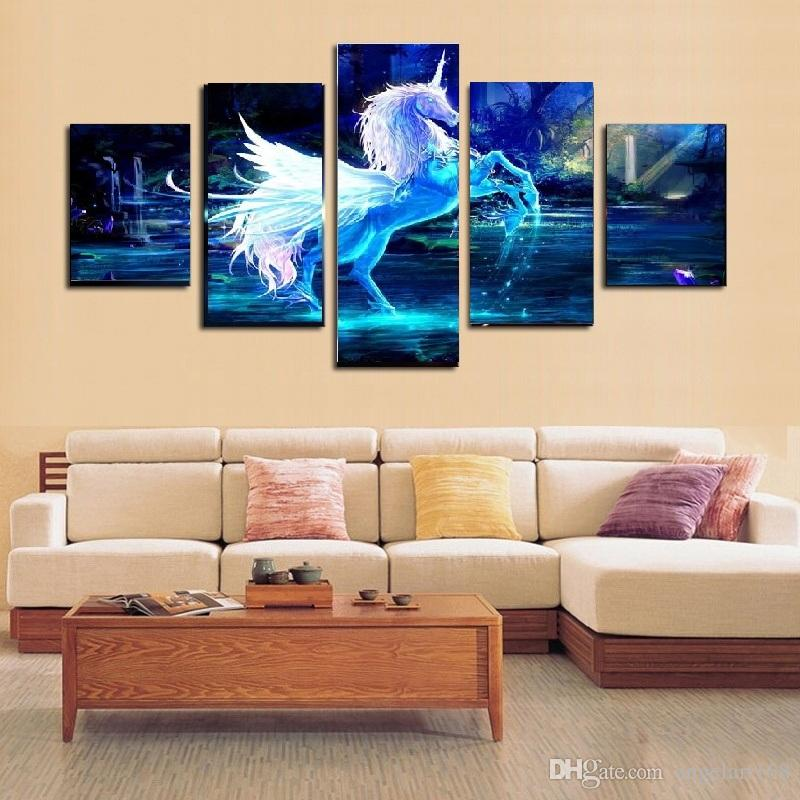 2017 Blue Horse Dream World Wall Art Oil Painting On Canvas No Frame Animal Textured Paintings Picture Living Room Decor From Angelart168 965