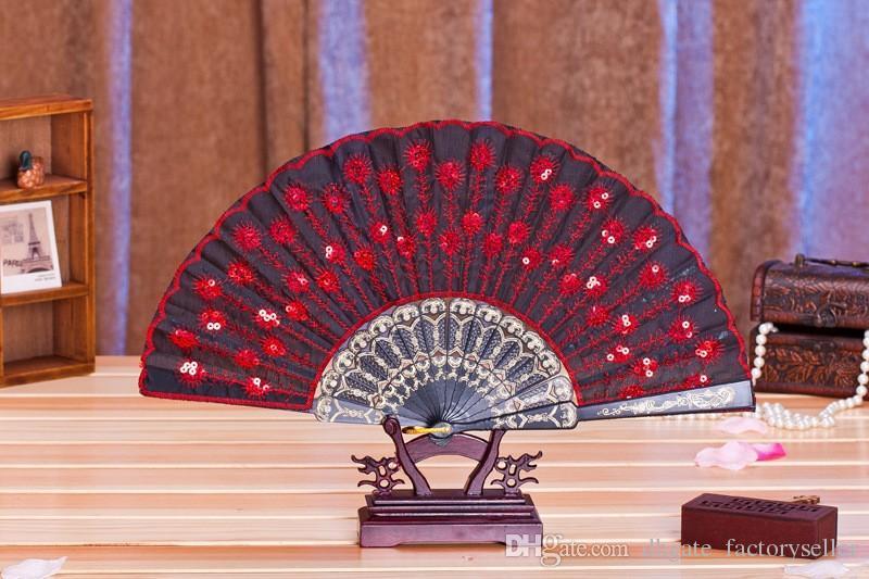 60 adet / grup Yeni moda sequins tavuskuşu fan El Yapımı dans el hayranları Dans malzemeleri Birçok renkler mevcut