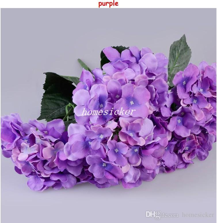 One Piece 7 stems/bunch 51CM Long European Style Silk Artificial Hydrangea Flower Fake Flower Bush For Wedding Bouquet Home Decoration