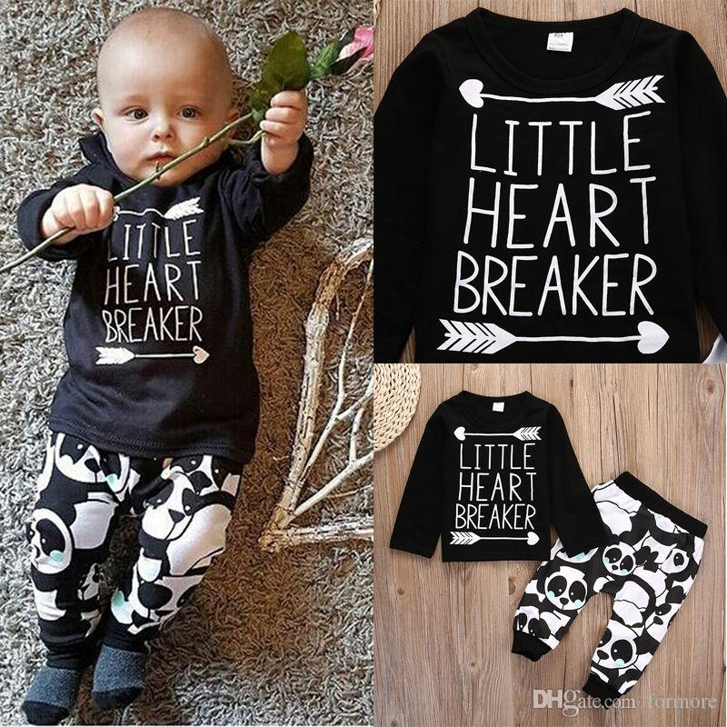 Autumn New Baby Boy Clothes Set Boutique Kids Tracksuit Cotton Cartoon Panda Long sleeved T-shirt+Pants Newborn Toddler Boys Clothes
