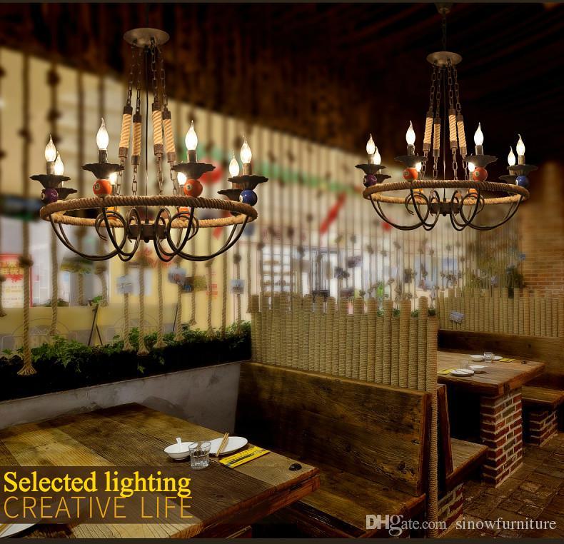 6 Işık-Vintage Avize Loft Sarkıt Aydınlatma E14 Mum Kolye Işıkları Oturma Odası için Bar Mağaza Aydınlatma