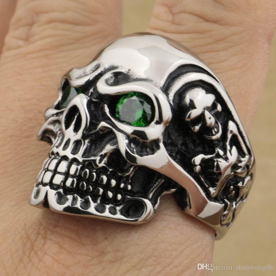 LINSION Huge Heavy 316L Stainless Steel Round Green CZ Eyes Titan Skull Ring Mens Boys Biker Rock Punk Style 3A701