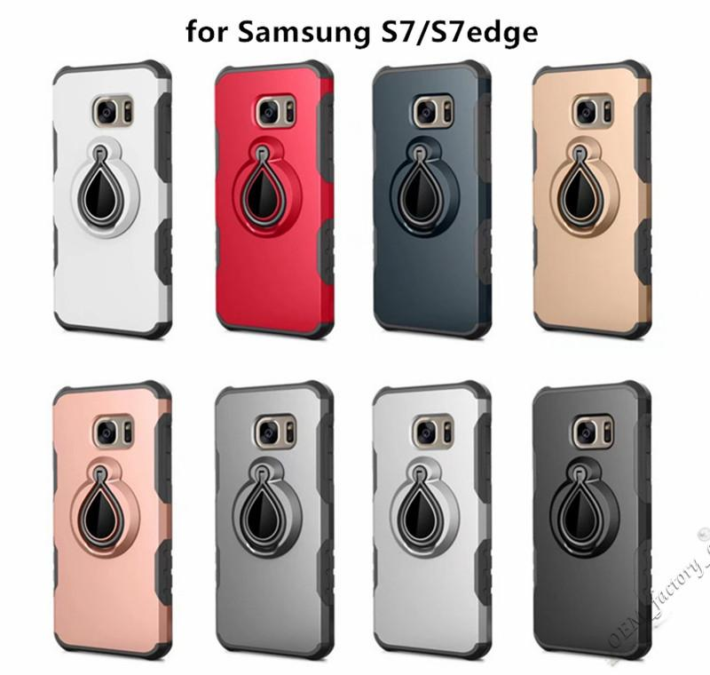 For Samsung J2 J5 J7 Prime A3 A5 A7 360 Degree Ring Car Phone Holder Back Cover Hybrid TPU PC Metal Kickstand Case