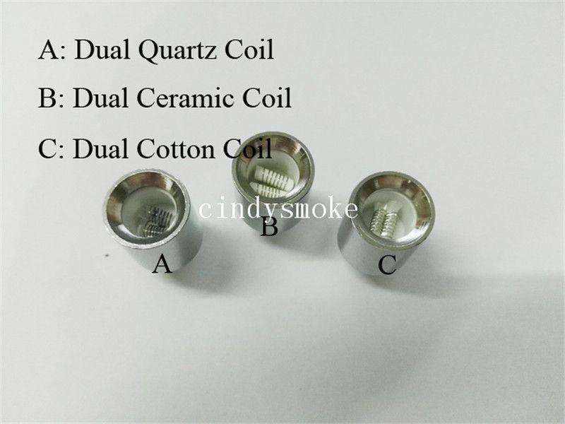 Dual Ceramic wax coils for cannon vaporizer atomizer vape double coil dual coil Quartz rod wax Glass globe metal vase cartomizer