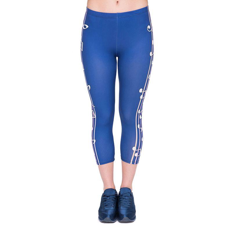 e424afdc6b2 2019 Women Capri Leggings Color Music Blue 3D Graphic Print Lady Cropped  Trousers Girl Sports Capri Pants Stretch Workout Seven Socks J45779 From  Joybeauty