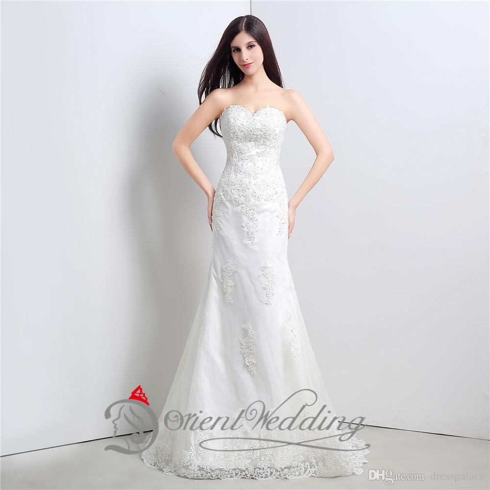 2015 In Stock 100% Real Photos White Sweetheart Embroidery Sequins Satin Mermaid Lace-up Wedding Dresses Court Train Bridal Gown