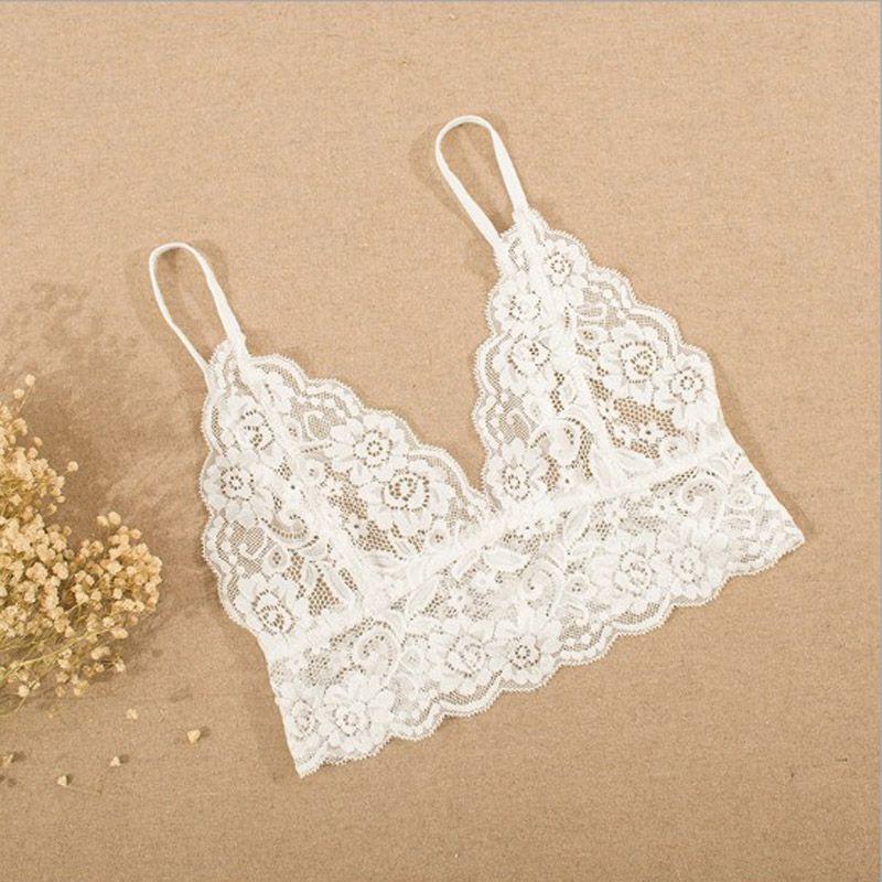 Women Crop Tops Hollow Out Camis Translucent Underwear Sheer Lace Lingerie Bra Strap Bras Nightwear Summer Beach Fashion