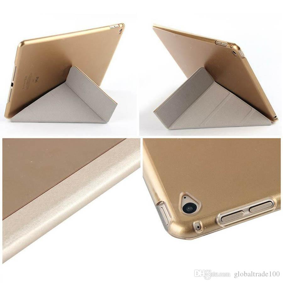 Ultra Thin Slim Light Three Fold Transparent Clear Transformers PU Leather Stand Smart Cover Cases For iPad Air 2 Mini 4 10.5""
