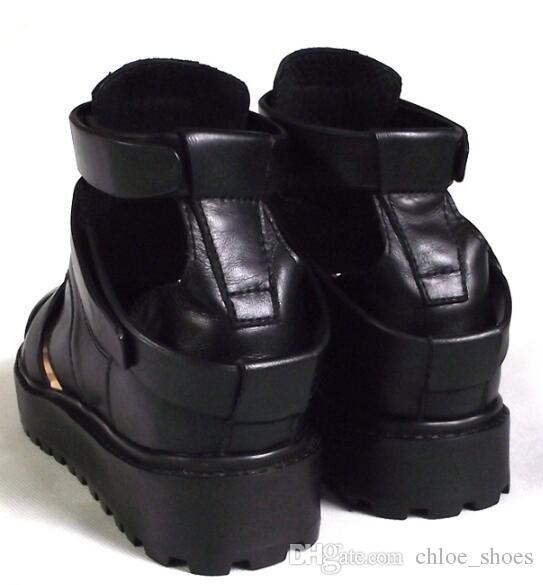 Preto Tornozelo Curto Gladiators Saltos Planos Couro Genuíno Cortar Homens Sandalias Strappy Mocassins Zapatillas Roma Lazer Sandálias
