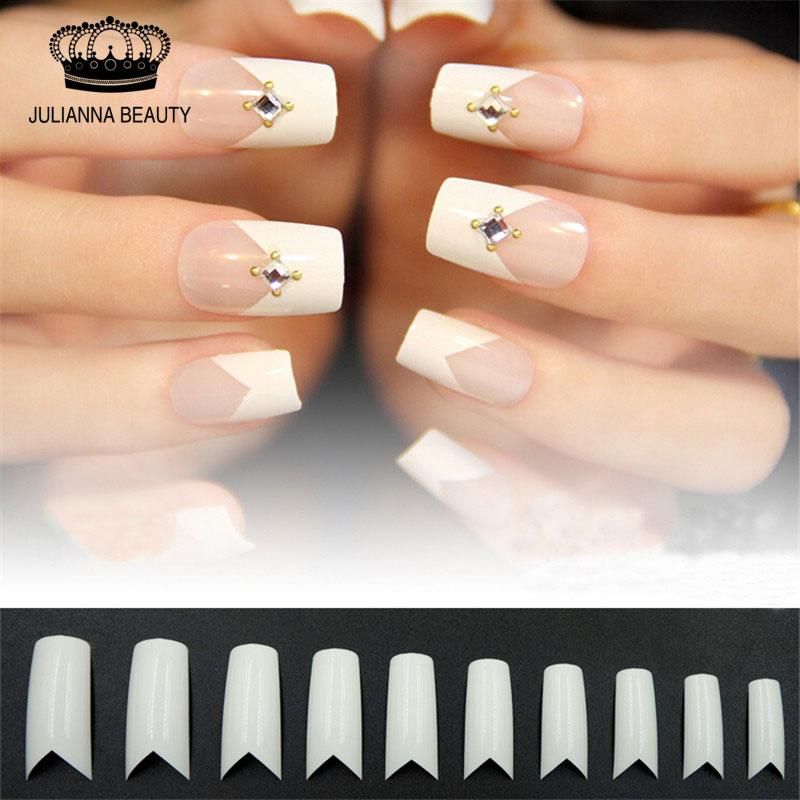 Wholesale Free Beauty White V Shapes False Fake Acrylic Nail Tips ...