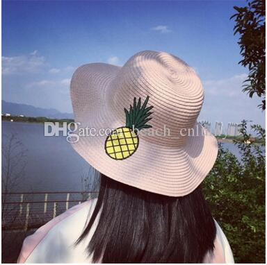 9bd48b9ca08 Fashion Wide Brim Summer Beach Sun Hats For Women Pineapple Embroidery Big  Straw Hats Caps Ladies Fruit Holiday Sunscreen Foldable Hats 2017 Visor Hats  ...