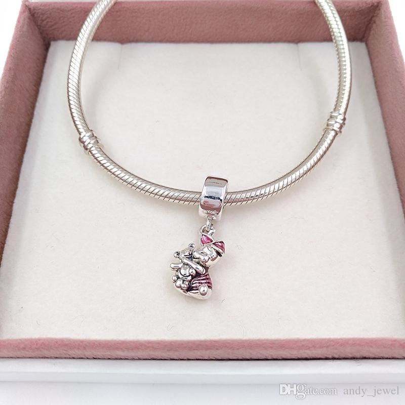 Authentische 925 Sterling Silber Perlen Schwein Charm Charms für europäische Pandora Style Schmuck Armbänder Halskette 792134EN117