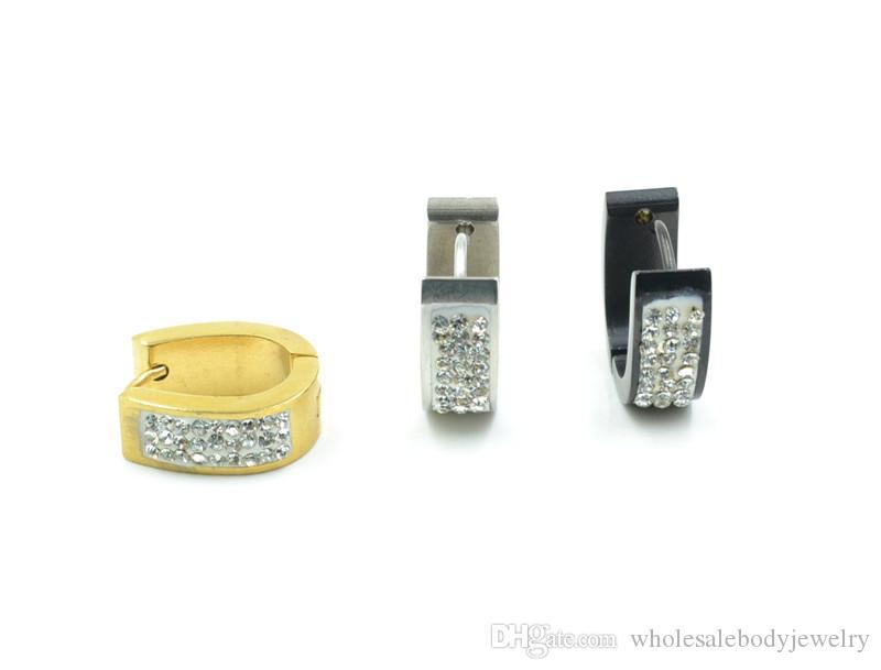 Free Shippment Body Jewelry- Gems 16g~1.2mm Screw Stainless Steel Hoop Men/Women Earring Ear Studs Piercing Jewelry