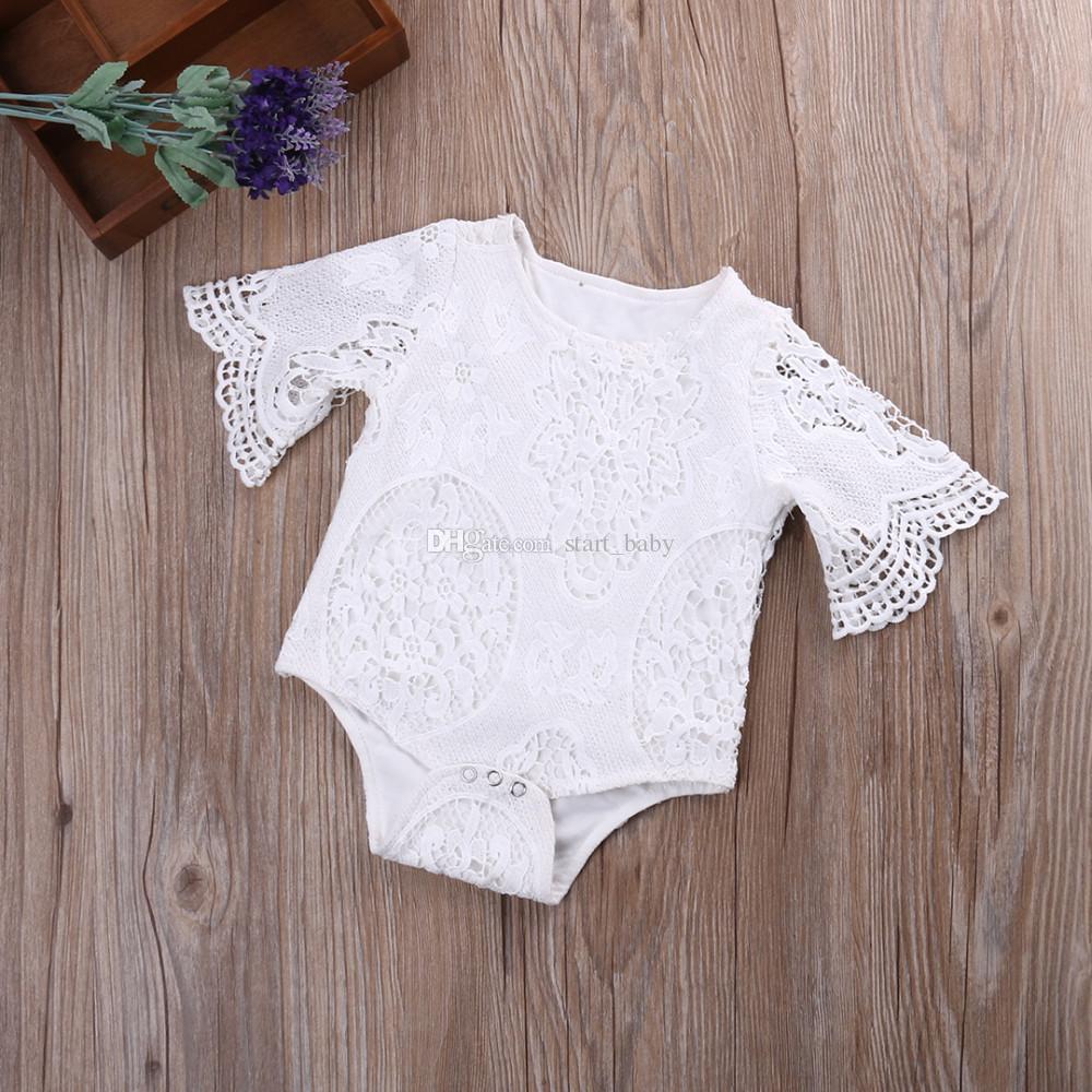 Baby INS pizzo fiore Pagliaccetti ragazza in cotone tinta unita manica a pipistrello pizzo pagliaccetto 2018 nuovi vestiti bambini 0-2 anni