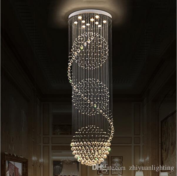 Led Crystal Chandeliers Lights Stairs Hanging Light Lamp Indoor Lighting Decoration With D70cm H200cm Chandelier Fixtures For Dining Room
