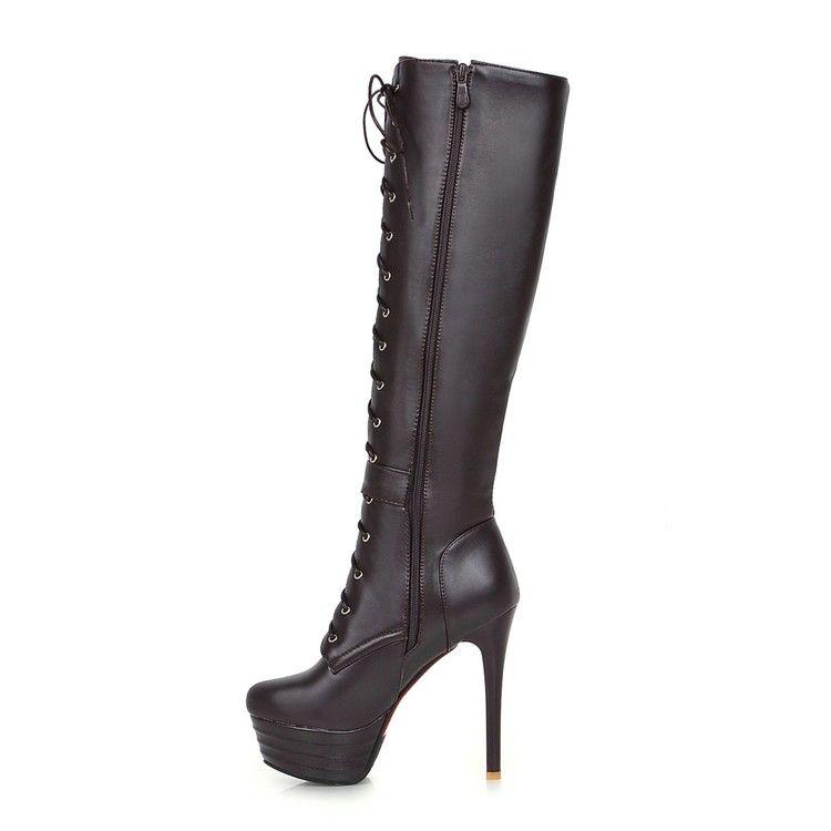 Bottes PU 33 40 41 Chaussures courettes de femme 32 talon haut 13 cm 4.5cm EUR Taille 31-45