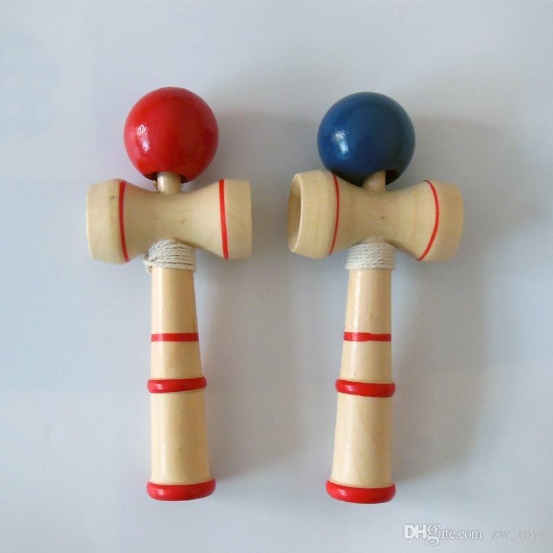 Hot sale Kid Kendama Ball Japanese Casual Traditional Juggling Game Wood Hand-eye Balance Skill Ball Educational Toys Plain Colors Free ship
