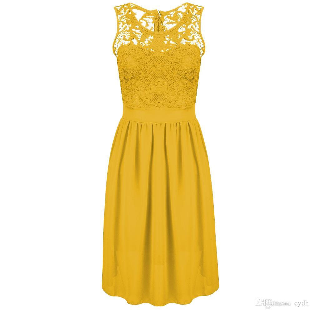 2019 Europe United States fashion bursts solid color round neck sleeveless waist Slim chiffon dress back zipper,Support mixed batch
