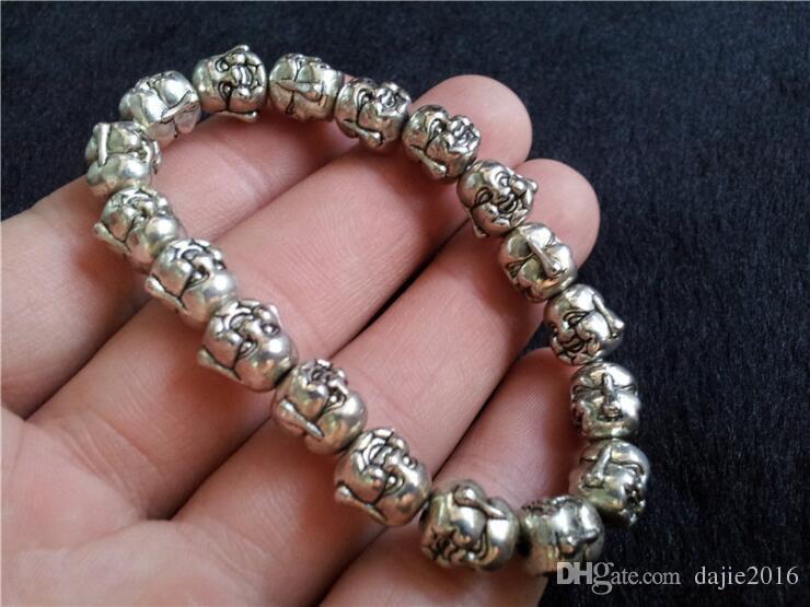 argento Tibetano unico Bracciale in acciaio Buddha testa superiore 40g uomini e donne amuleto