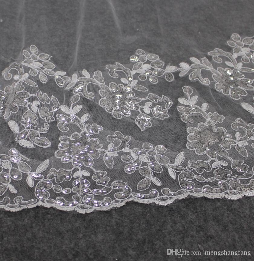 Echt Fotos 2 Schichten Luxus Pailletten Spitze Rand 3 Meter Lange Brida Schleier Weiß Elfenbein Brautschleier mit Kamm Hochzeit Zubehör