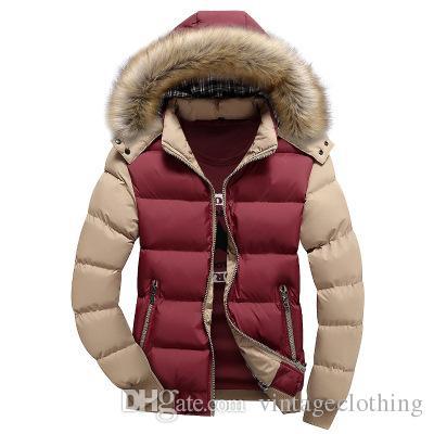 Мужская меховой воротник пальто мода зима молния толстые лоскутное ветровка верхняя одежда теплый хлопок куртка мужская пальто открытый длинная куртка