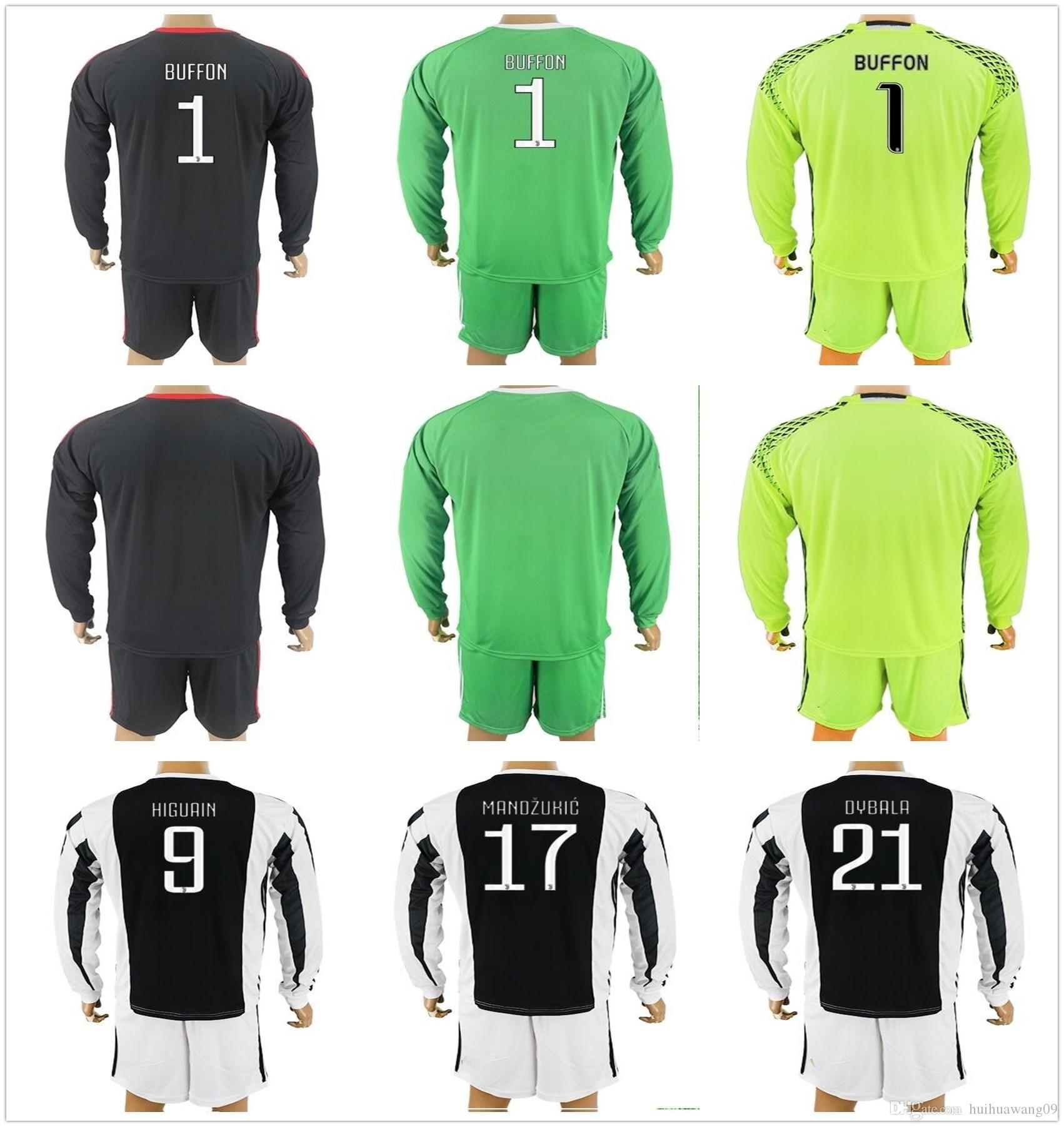 2017 18 adult long buffon goalkeeper jersey long kit soccer set 1 gianluigi buffon szczesny